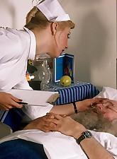 Classic blond nurse seduces horny old patient and fucks him